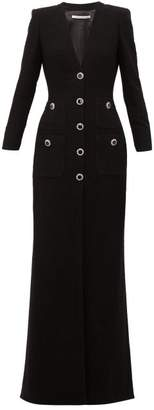 Alessandra Rich Embellished Tuxedo Style Wool Blend Gown - Womens - Black