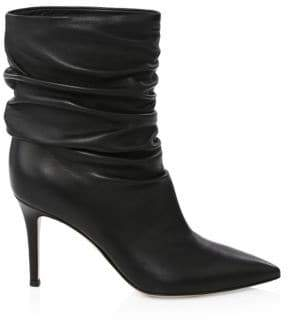 Gianvito Rossi Women's Gathered Leather Booties - Black - Size 35 (5)