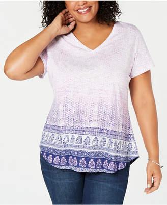 Style&Co. Style & Co Plus Size Cotton Batik-Print Top