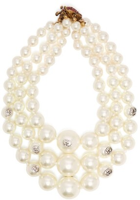 Gucci Gg Embellished Faux Pearl Necklace - Womens - Pearl