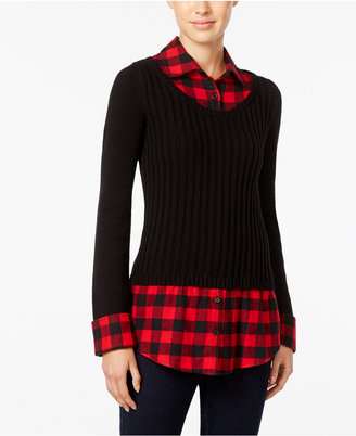 Style & Co. Plaid-Inset Layered-Look Sweater, Only at Macy's $59.50 thestylecure.com