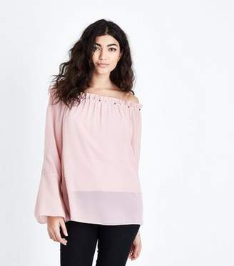 Yumi Pink Pearl Embellished Bardot Neckline Top