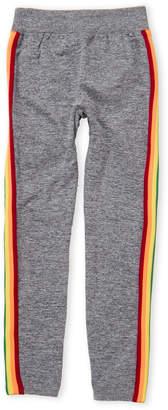 Poof Apparel (Girls 7-16) Black Rainbow Stripe Leggings