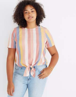 Madewell Button-Back Tie Tee in Sherbet Stripe
