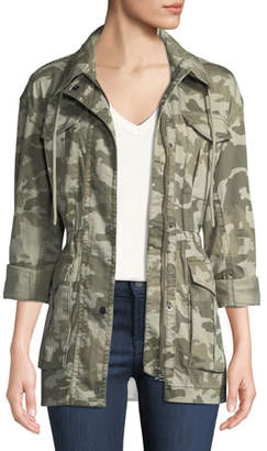 ATM Anthony Thomas Melillo Field Camo Zip-Front Utility Jacket with Stowaway Hood