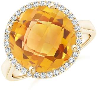 Angara Pear-Shaped Citrine Cocktail Ring with Diamond Halo