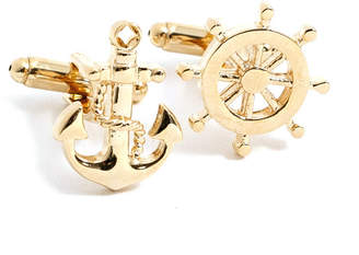 Bey-Berk Bey Berk Ship Wheel & Anchor Cufflinks