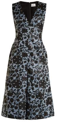 Erdem Kamila Floral Jacquard Midi Dress - Womens - Black Blue