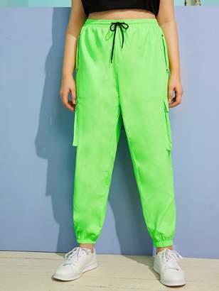 Shein Plus Drawstring Waist Neon Green Cargo Pants