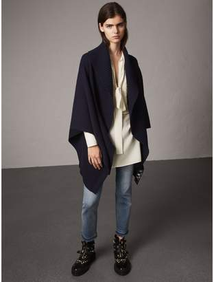 Burberry Shawl Collar Wool Cashmere Poncho