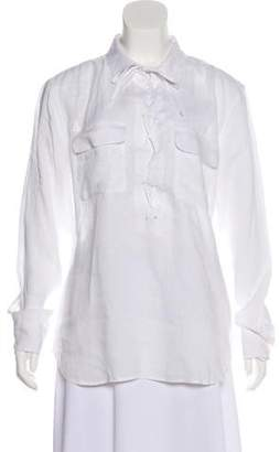 Equipment Lace-Up Linen Top