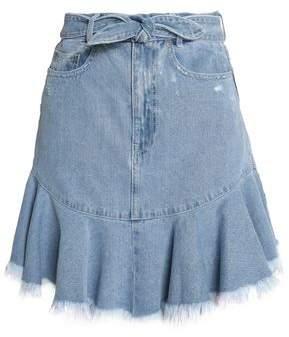 Zimmermann Tulsi Tie-Front Distressed Denim Mini Skirt