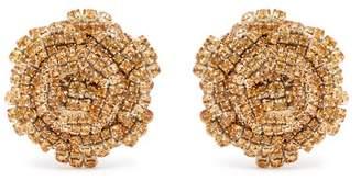 Rebecca De Ravenel - Ava Crystal Embellished Rose Earrings - Womens - Brown