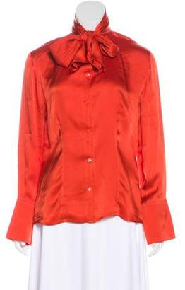 Lanvin Silk Bow-Accented Button-Up Top