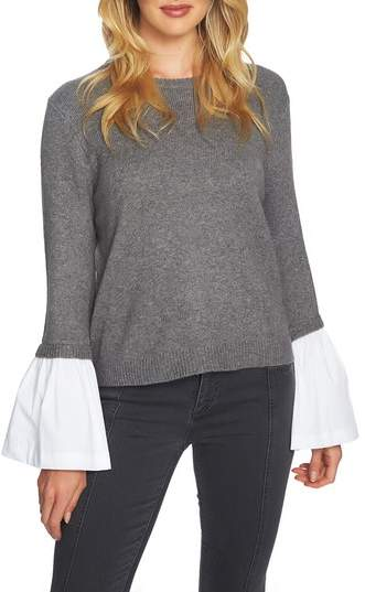 1.STATE Crewneck Poplin Bell Cuff Sweater