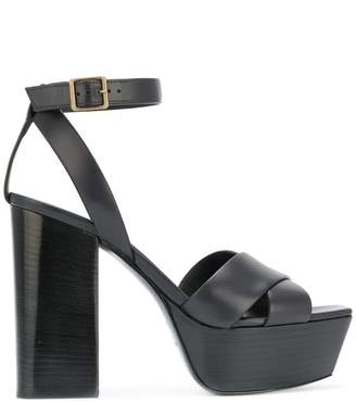 Saint Laurent Farrah 80 criss-cross sandals