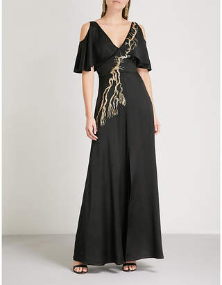 Temperley London Alchemy cold-shoulder satin maxi dress