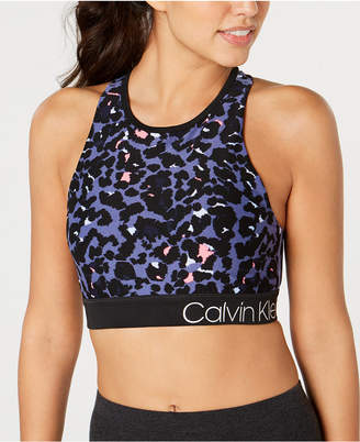 Calvin Klein Printed Strappy-Back Medium-Impact Sports Bra