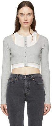 Alexander Wang Grey and Off-White Layered Mixed Media Crop T-Shirt