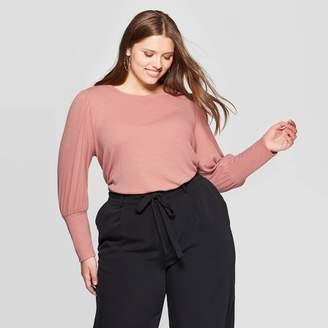 Ava & Viv Women's Plus Size Puff Long Sleeve Crewneck Top - Ava & VivTM