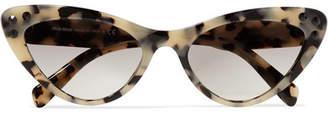 Miu Miu Cat-eye Crystal-embellished Tortoiseshell Acetate Sunglasses - Gray