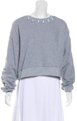 Jonathan Simkhai Long Sleeve Lace-Up-Accented Sweatshirt