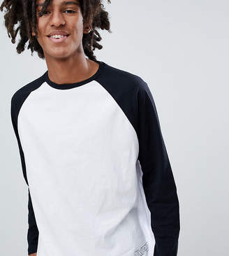 Pull&Bear Exclusive Raglan Long Sleeve Top In White With Logo