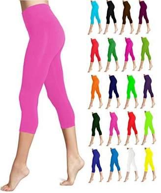Lush LMB Moda Seamless Capri Length Basic Cropped Leggings - Variety of Colors - Neon Pink OS