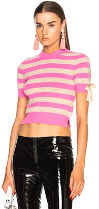 Fendi Striped Short Sleeve Sweater