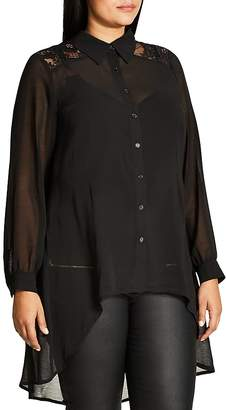 City Chic Lace Yoke Sheer High Low Blouse $59 thestylecure.com
