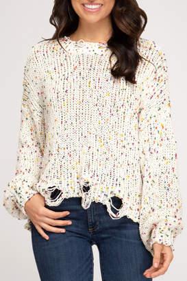She + Sky Confetti Distressed Sweater