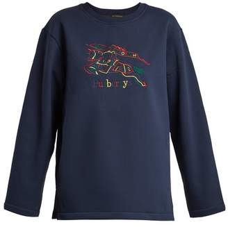 Burberry Logo Embroidered Cotton Blend Jersey Sweatshirt - Womens - Navy