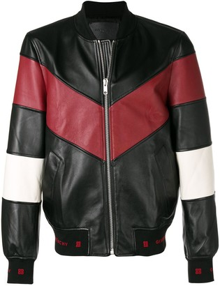Givenchy chevron stripe leather bomber jacket