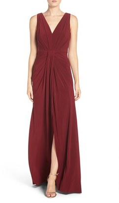 Women's Vera Wang Jersey Pleated Fit & Flare Gown $268 thestylecure.com