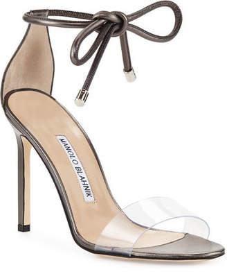 f7c906a6d93de Manolo Blahnik Estro Leather & PVC Ankle-Wrap Sandals