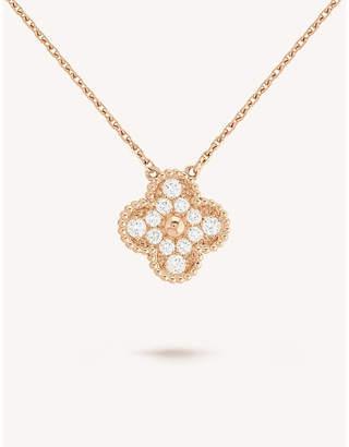 9a9d30e414315 Van Cleef   Arpels Vintage Alhambra rose-gold and diamond pendant necklace