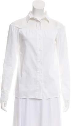 RtA Denim Cold-Shoulder Button-Up Top