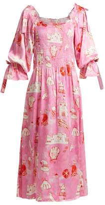 Matteo Shrimps Smocked Silk Satin Dress - Womens - Pink
