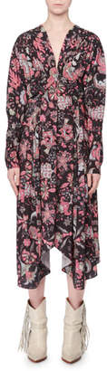 Isabel Marant V-Neck Long-Sleeve Printed Techno Long Dress