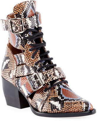 Chloé Python-Embossed Leather Combat Boots