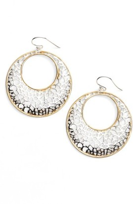 Women's Argento Vivo Two Tone Circle Lace Earrings $88 thestylecure.com