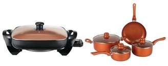 Brentwood Appliances BPS-107C 7-Piece Nonstick Copper Cookware Set and SK-66 12-Inch Nonstick Copper Electric Skillet Bundle