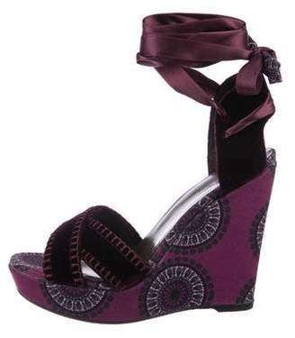 Stuart Weitzman x Theodora Callum Velvet-Trimmed Canvas Wedge Sandals