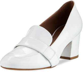 Tabitha Simmons Mika Block-Heel Leather Loafer Pumps, White