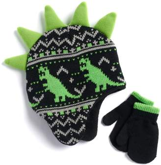 ... Toddler Boy Dinosaur Fairisle Hat   Mittens Set 7998b9c6d95c