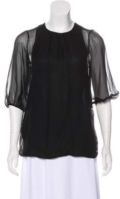 Vince Pleated Silk Blouse