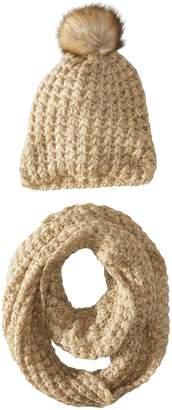 La Fiorentina Women's Chunky Knit Hat with Pom and Muffler 2 Piece Set