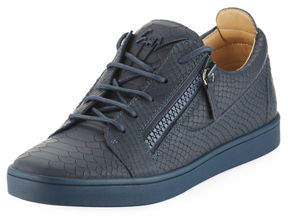 Giuseppe Zanotti Men's Croc-Embossed Leather Low-Top Sneakers