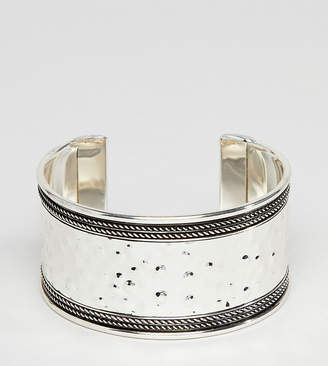 Asos DESIGN Curve Exclusive Hammered And Engraved Cuff Bracelet