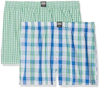 S'Oliver Men's 26.899.97.4230 Boxer Shorts, Multicolour Ivory and Check Green 11C5, (Manufacturer Size: 7)